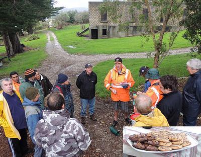 Island Ranger, Bernie Buhler, briefs volunteers.